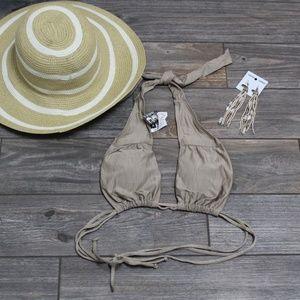 NWT Hurley Swim Bikini Top + Long Dangle Earrings